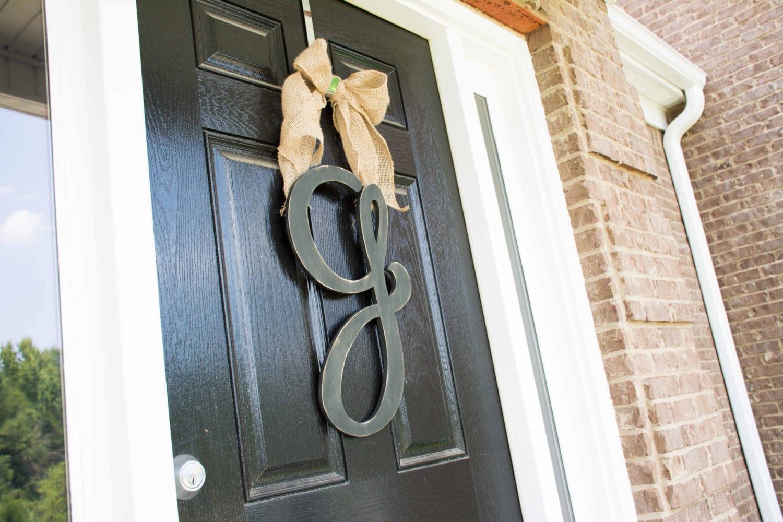 wooden letter door hanger monogram front door oversize wood. Black Bedroom Furniture Sets. Home Design Ideas