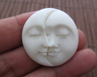 30mm Hand carved Moon Phases cabochon, natural cabochon, buffalo Bone carving, Jewelry making Supplies S3014