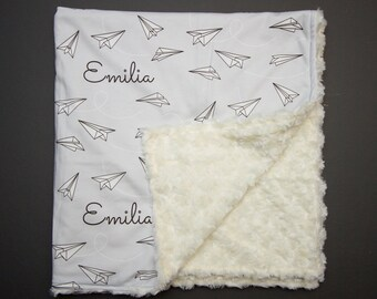 Personalized Paper Airplane Blanket - Gray and White Personalized Swaddle or Minky Crib