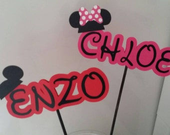 Mickey or Minnie Cardstock name in stick great for party centerpiece cake topper