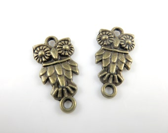 8 Antique gold owl connector charms