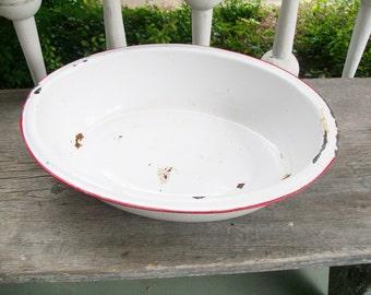 Vintage Enamelware Pan White Red Trim Basin Large Oval 1940's-50's