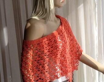 Funny - Summer Accessory / Loose Crochet Shawl / Loose Crochet Poncho / Crochet Cover Up / Beach Cover Up / Summer Shawl / Summer Scarf