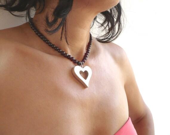 handmade sterling silver choker heart with garnet