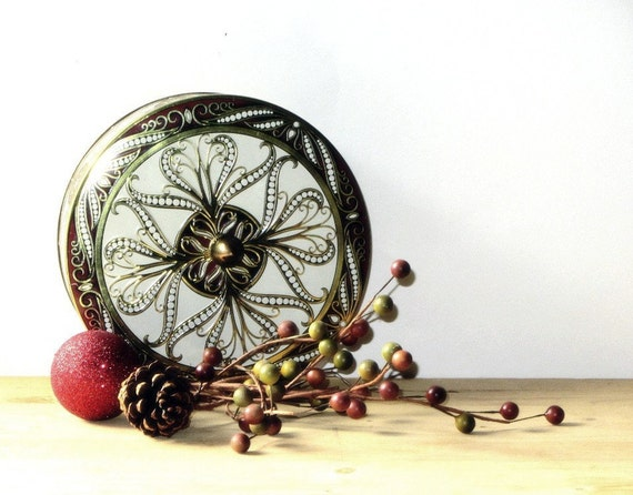 Embossed Burgundy Red and Gold Biscuit Tin Made in by