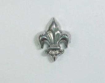 1 PC - Fleur De Lis Silver Charm for Floating Locket Jewelry F0103