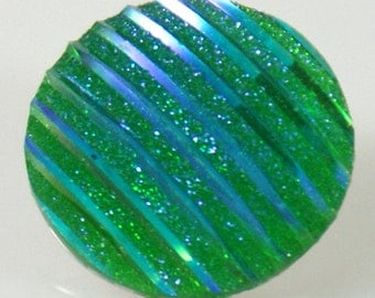 1 PC 18MM Green Iridescent Resin Silver Snap Candy Charm kb2236 CC0741