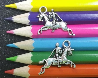 5 PCS - Knight on Horse Spartan Silver Charm Pendant C1048