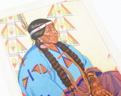 Vintage Native American Litho Print by Winold Reiss - Long Time Pipe Woman