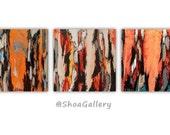 ORIGINAL gift for her women Orange Paintings wall art set trees modern abstract landscape artwork office living room kitchen bedroom decor