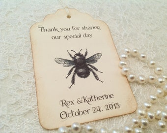 Wedding Thank You Favors Tags-Beehive Thank You Tags-Baby Shower Favor Tags-Set of 12