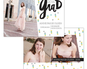 INSTANT DOWNLOAD - Graduation announcement - Photoshop Templates - E1208