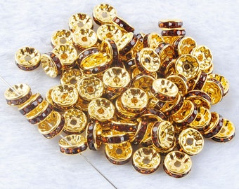 20 Amber Rhinestone Spacer Beads Gold Plated 8 mm Ships From The United States - sp051