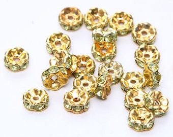 Rhinestone Spacer Beads 8 mm Gold Plated Light Green  Ships From The United States - sp053