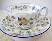 Minton Cup Saucer Haddon Hall Blue Yellow Floral Made in England
