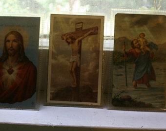 Vintage Prayer Cards Vintage lot of 5 Catholic prayer cards paper ephemera collage collect re purpose