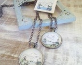 Original Watercolour Landscape Necklace, OOAK ART