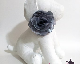 Silver Grey Gray Flower Collar Accessory