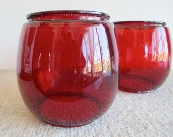 Pair of Vintage Dietz Red Glass Lantern Globes - Set of 2