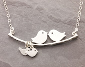 Ships in 24H: Mom Necklace, 1-10 kids, gifts for mom, love birds, new parents, mother necklace, baby shower jewelry, baby bird necklace, N1
