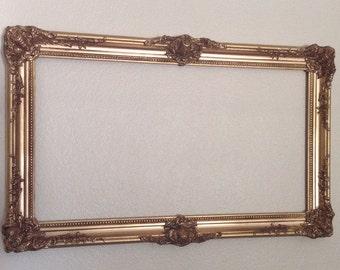 Rectangle Ornate French Hollywood Regency Mirror Open Frame