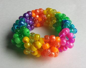 Rainbow 3D Kandi Cuff - Rave - Festival