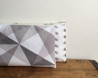Geometric Pencil Case, Pale Pink and Gray Pencil Pouch, Back to School, Grey and Pink, Triangle Zipper Bag, Toiletry Pouch