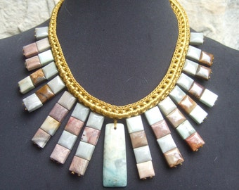 Exotic Large Scale Polished Stone Statement Necklace