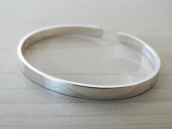 Sterling Silver Childrens Bangle - Christening Bracelet, Baptism Gift With Stamped Name