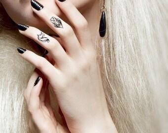 Owl and Unicorn Mini Temporary Tattoos - Owl Tattoo - Finger tattoo - Unicorn Tattoo - Temporary Tattoo