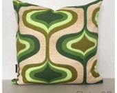 "Funky Original Vintage Green Psychedelic Fabric Cushion Cover 16"" x 16"" Retro Throw Pillow"