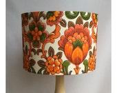 Lamp Shade Original Vintage 70s Orange  Flowery Fabric, European or US Fitting