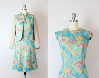vintage 60s dress and jacket set / 1960s dress set / paisley print dress / two piece dress / Sea Melody dress