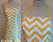 SALE Yellow Chevron Apron with Pocket and Ruffle, Free Shipping - Can be Personalized, Bright Sunny Yellow, Ivory, Cream