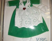 Ginny Doll GREEN Dress White Apron NIP '78 Vtg New In Blister package Easter