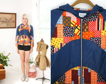 RARE 70s Quilted Patchwork and Blue Nylon Jacket Windbreaker