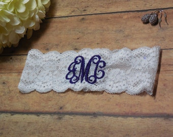 Monogrammed Garter, Garter, Wedding Garter, Purple Garter, Monogram, Initials, Lace Garter, Keepsake Garter, Purple Wedding, Brides Garter