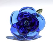 Blue Rose Glass Long Stemmed Rose, Borosilicate Lampwork Flower Hand blown, Handmade Gifts For Her, Large Rose Boro Sculpture Art