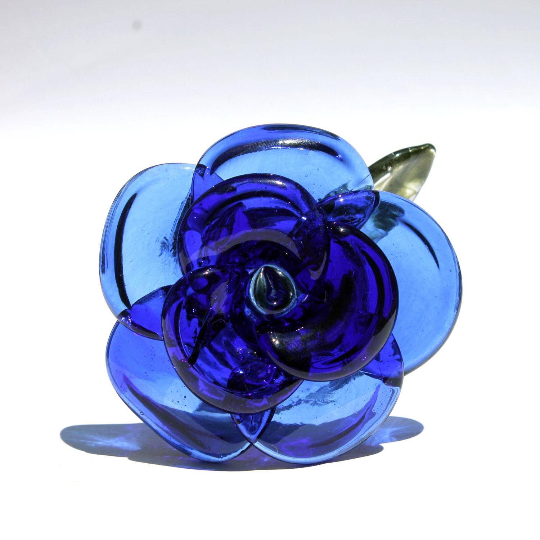Blue rose glass long stemmed rose borosilicate lampwork for Blue long stem roses