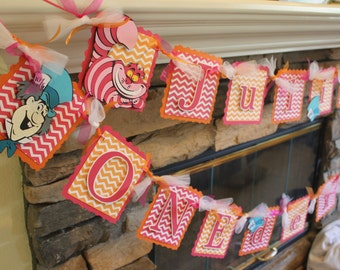 Birthday Banner Alice In Wonderland Mad Hatter Inspired - Mad Hatter Party - Alice In ONEderland Party