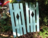 TWIN Shutters, Wooden Shutters, Aqua House Shutters, Yard Art, Garden Decor, Outdoor Porch, Window Decor, Slatted Shutters, Beach Coastal
