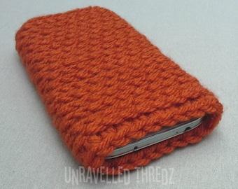 Orange Phone Sock Cozy- Iphone, Galaxy, HTC, Crochet Phone Pouch, Rust, Terracotta
