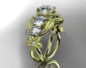 14kt yellow gold diamond floral, leaf and vine wedding ring, engagement ring ADLR69