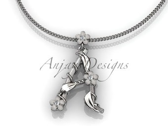 14k white gold   diamond floral,leaf and vine initial pendant ADLR196