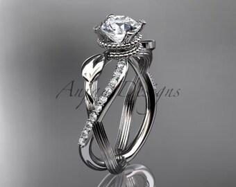 platinum diamond leaf and vine wedding ring, engagement ring ADLR70