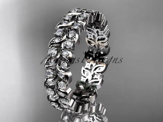 14k white gold diamond vine and leaf  wedding ring,engagement ring,wedding band ADLR36B
