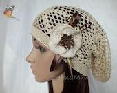 Lace Crochet Tam Dreads Hat Oversized Beret Slouchy Beanie Boho Women Girl Beige Summer 2013 Cotton Vintage Style