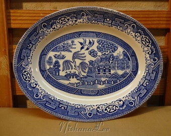 Old Blue Willow Transferware Staffordshire England Oval Platter