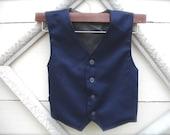 BOYS VEST-Admiral Blue Boys vintage style Vest, blue vest for boys,  Boys ring bearer vest, Toddler boy vest (sz. available 1-10 year old)