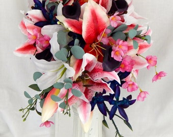 Cascade Wedding Bouquet - Tropical Wedding Bouquet, Stargazer Calla Lily and Orchid Bouquet - Pink and Purple Wedding Bouquet- Ready To Ship